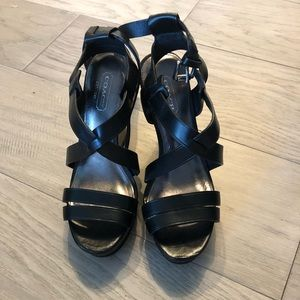 Coach black wedges size 5